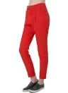 Neues Fashion Women Solid Hose Presse Stud Closure Slant Tasche Lady kausale lose Hose rot/schwarz
