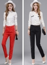 Solid Press Stud Closure Slant Pocket Lady Loose Trousers