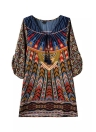 Vintage Shift Baroque Ethnic Geometric Print Bohemian Beach Dress