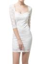 Nouvelles femmes Sexy dentelle florale robe Low V cou Half Sleeve Zip arrière mince Bodycon parti Mini robe blanc