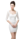 Half Sleeve Slim White Lace Dress