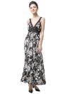Новая мода женщин платье цветочные печати галстук талии глубокий V шеи без рукавов заполнения платье черный
