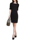 Mode femmes Mini robe Puff moitié O-cou manches Zipper Bodycon parti OL élégante robe noir
