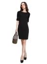 Moda mulheres Mini vestido O-garganta Puff meia mangas Zipper Bodycon festa OL elegante vestido preto