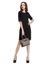 Мода женщин платье мини O-шеи слоеного половины рукава молния Bodycon партии OL элегантное платье черный