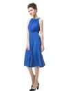 Nouveaux vêtements femme robe sans manches Slash cou Cordon rabattable divisée Sexy robe bleue