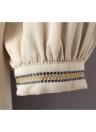 Alte Frauen kleiden ethnische geometrische Stickerei Krawatte Hals Laterne Sleeve böhmischen locker lässig Strand Kleid weiß/Beige