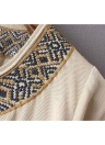 Vintage Women Dress Ethnic Geometric Embroidery Tie Neck Lantern Sleeve Bohemian Loose Casual Beach Dress White/Beige