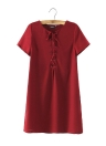 Casual Lace Up Solid Color O-Neck Short Sleeve Casual Shift Dress