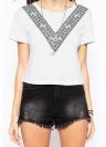 Été femmes Boxy T-Shirt V manches courtes impression O cou et Cropped Tee occasionnels haut blanc