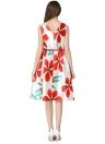 Vintage Elegant Floral Print O Neck Sleeveless Belt A Line Swing Dress