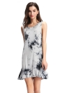 Summer Fashion Tie-Dye Ink Print Sleeveless Soft Shift Mini Dress
