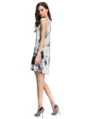Verão Fashion Tie-Dye Ink Print Sleeveless Soft Shift Mini Dress