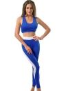 Мода Женщины Two-Piece Set вокруг шеи Racerback эластичный пояс Обрезанные Top Тонкий брюки Синий