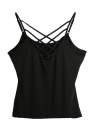 Neue reizvolle Frauen Criss Cross Top-Spaghetti-Bügel V-Ausschnitt, ärmellos Backless Bodycon Tank Top T-Shirt Wassermelone-Rot / Schwarz