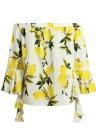 Neue Art und Weise Frauen weg vom Schulter-Bell-Hülsen-Bluse mit Rüschen Blumendruck Wasserfall Tropfen Sexy Lady Bluse Top Yellow