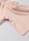 New Mode féminine Hauts Encolure volantée Elastique Neck Tiered manches avant Divise Casual Blouse rose