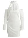 Frauen High Neck Ausgeschnitten Schulterfrei Langarm Bodycon Kleid