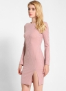 Solid Color Cross Strap Flare Sleeve Split Slim Sweater Dress