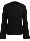 Women Sweatshirts Flare Long Sleeves Solid Color Casual Elegant Top Pullover