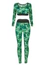 Женщины камуфляж 2 шт. Camo спортивный комплект Обрезанные танк топ с длинными рукавами Фитнес-костюм тренировки Йога спортивная одежда Длинные брюки