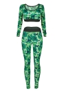 Mujeres camuflaje 2 piezas Camo Sports Set recortada Tank Top mangas largas traje de fitness ejercicio Yoga Sportswear pantalones largos