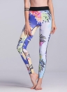 Frauen Gym Leggings bunte Blumendruck gemischte hohe Taille dünne Hosen