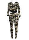 Sexy Women - Dos piezas de cremallera de manga larga con cintura elástica Crop Top Pants Set