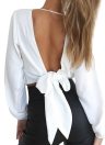 Sexy Blouse Long Sleeves V-Neck Vendaje Sólido Casual Elegante Crop Top Camisa