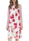 Women Christmas Floral Print Long Sleeves Dress