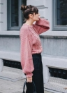 New Women Twist Solid Color Long Sleeve Loose Pullover  Knitted Sweater