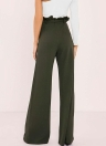 Pantalones de cintura alta de mujer Pantalones de cintura ancha de color sólido con cremallera