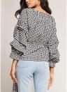 Blusa blusa de manga de xadrez feminina