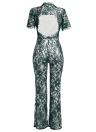 Nuevas mujeres atractivas mono de encaje O cuello de manga corta espalda abierta pierna ancha pantalones largos mameluco mameluco clubwear