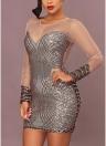 Women Sheer Mesh Sequined Mini Party Club Dress