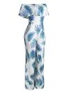 Women Off the Shoulder Strapless Playsuit Overalls Leaf Print Long Pants Pockets Short Sleeves Rompers