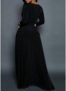 Women V Neck Three Quarter Sleeve Solid Ruched Slim Elegant Maxi Dress