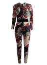 Vintage Women Floral Print V Neck Long Sleeve Retro Slim Playsuit