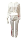 Fashion Women Two-Piece Set Striped Hooded Drawstring Long Pants Long Sleeve Hoodies Sportswear