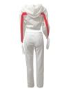 Мода женщин двухкомпонентный полосатый с капюшоном Drawstring длинные брюки с длинным рукавом Hoodies