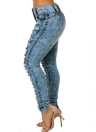 Women Ripped Jeans Denim Destroyed Frayed Hole Zipper Pockets Pants