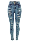 Mulheres Ripped Jeans Denim Destroyed Frayed Hole Zipper Pockets Pants