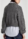 Женщины Faux Pearls Beadings Круглый шею с длинным рукавом Ребристый свитер