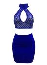 Mulheres Duas peças Slim Crop Top Skirt Sequined Sleeveless Bandage Halter Skirt