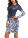 Women Polka Floral Print Round Neck Long Bodycon Mini Night  Party Dress