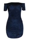 Femmes Velvet Shoulder Slash Neck Short Sleeve Pencil Clubwear Robe de soirée