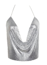 Adjustable Chain Halter Plunge V Neck Sleeveless Backless Sequin Women's Crop Top