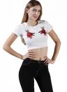 Nuove donne di modo Raccolto manica corta Top ricamo floreale Roun Collo Slim Fit fredda Tee Top Bianco