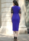 Embroideried See Through Lace Round Neck Women's Midi Dress