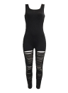 Sexy Women sans manches Ripped Cutout Club One Piece Long Pants Jumpsuit